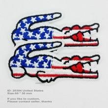 Флаг крокодила США, железные нашивки для одежды, нашивки с вышивкой, нашивки с вышивкой