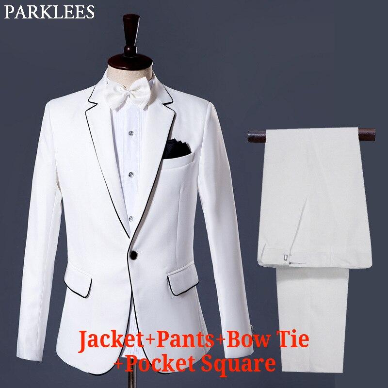 (jassen + Broek) Mens Wedding Grooms Pakken Klassieke Witte Smoking Jurk Pak Mannen Formele Gentleman Podium Zanger Gastheer Kostuums Homme Goedkope Verkoop 50%