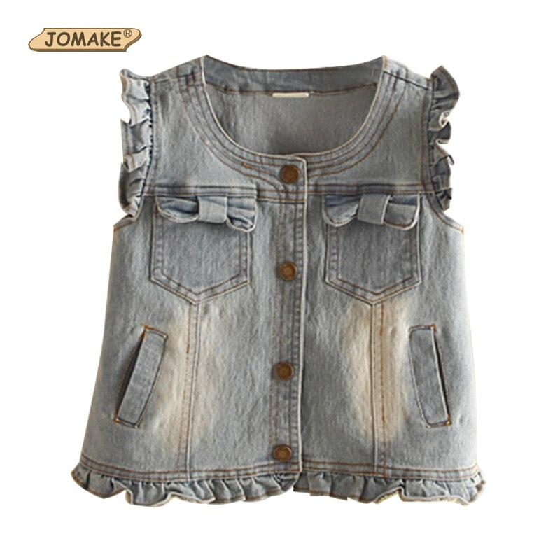 f82d501fa 2019 New Baby Girls Denim Vest Fashion Ruffled Jeans Waistcoat Kids ...