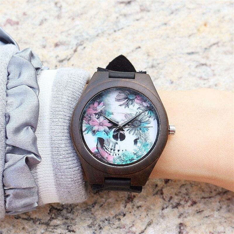 2017 Luxury HOTIME Watch Women Men Black Wood Skull Watches Handmade Rhinestone Bracelet Quartz Wristwatches Relogio Feminino