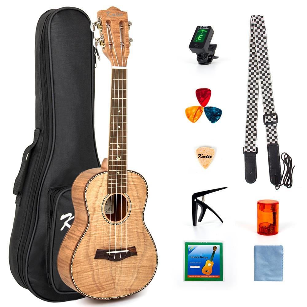 Kmise Concert ukulélé 23 pouces Ukelele tigre flamme okoumé Kit de démarrage guitare classique tête avec sac de Concert accordeur sangle chaîne