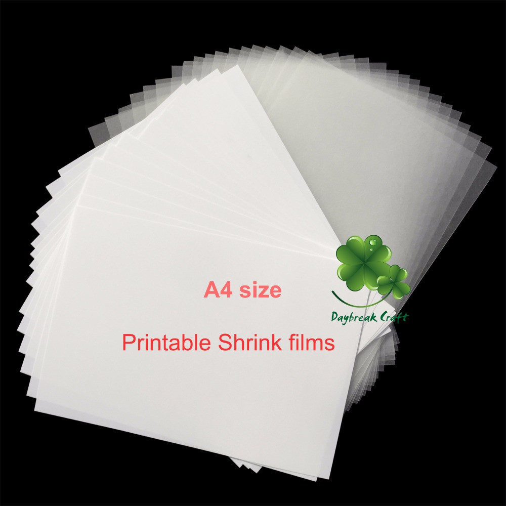 10pcs / lot Imprimante Ink Shrinks Film Feuille De Plastique DIY Creative Décorer imprimable rétrécir Films A4