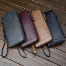 Business fashion Large Capacity phone Multi card bit zipper men long wallet coin leather purse high quality 2019 vintage clutch