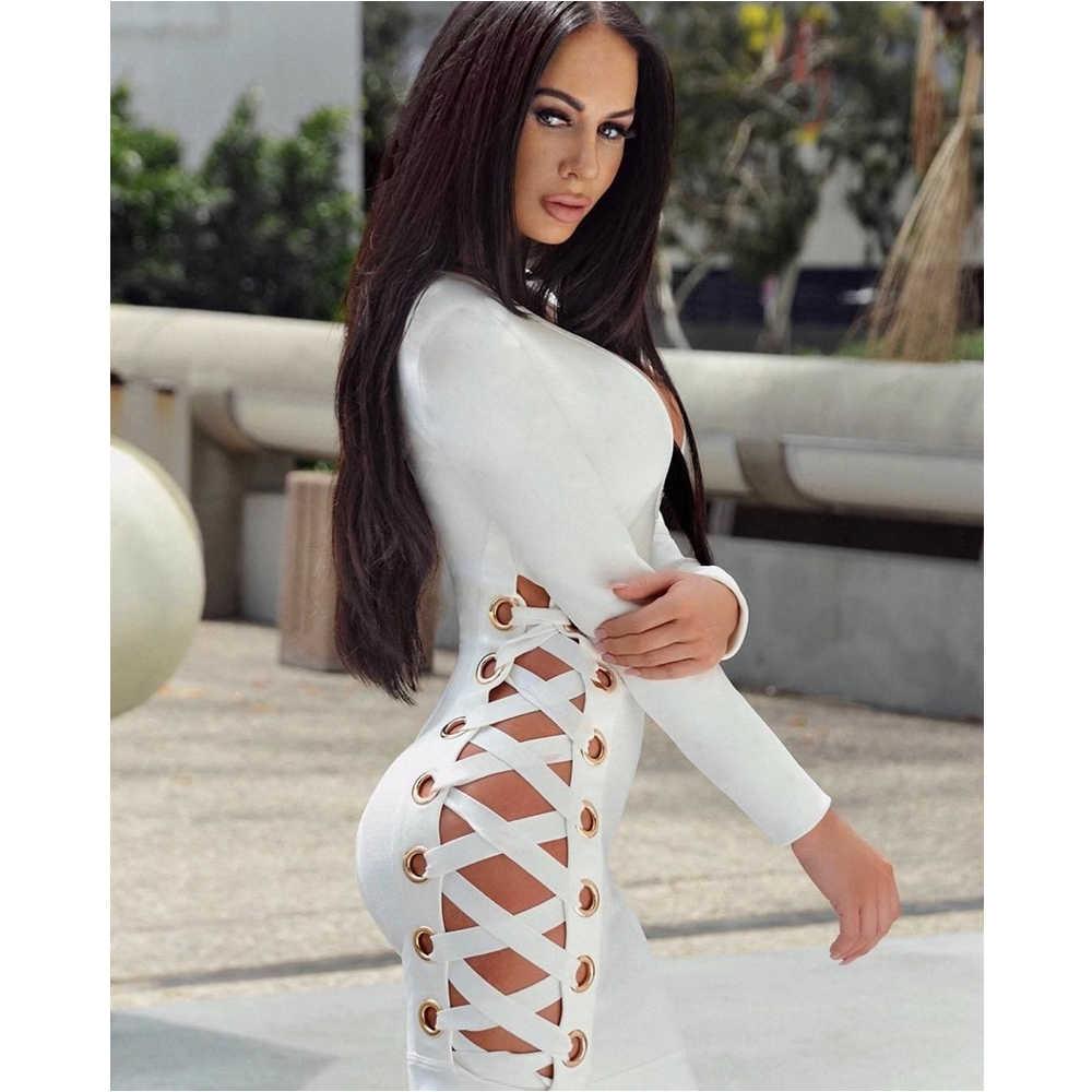 Ocstrade 2019 automne nouveauté femmes blanc Sexy col en v et à lacets tricoté à manches longues robe de haute qualité