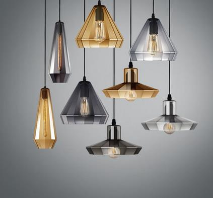 Creative personality glass pendant lamp coffee single head pendant lamp Nordic staircase glass cylinder Pendant Lights LO7203