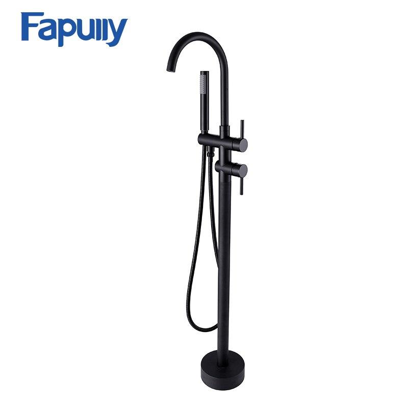 Fapully Oil Rubbed Bronze Floor Mount Bathtub Faucet Hand Shower Set Sprayer Mixer Faucet Bathroom Shower Bath Tub