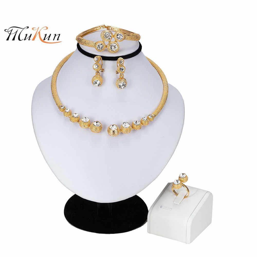 MUKUN 2019 новые комплекты ювелирных изделий для Для женщин Африканский Свадебный Золотой Цвет Цепочки и ожерелья набор Дубаи Свадебные Эфиопский Модный Ювелирный