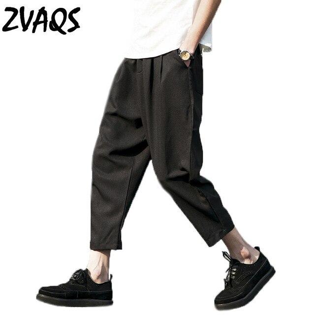 Été Nouvelle Casual Harem Pantalon Hommes Lâche Cheville Longueur Pantalon  Large jambe Lin Pantalon Hommes Plus b798aeda2a28