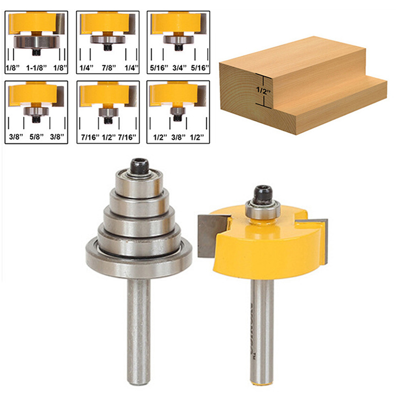 2Pcs Cemented Carbide Rabbet Router Bits 1/4 Shank with 6 Adjustable Bearing 1pc 1 4 shank cemented rabbet carbide router bit with 6 bearing for woodworking cutter power tool