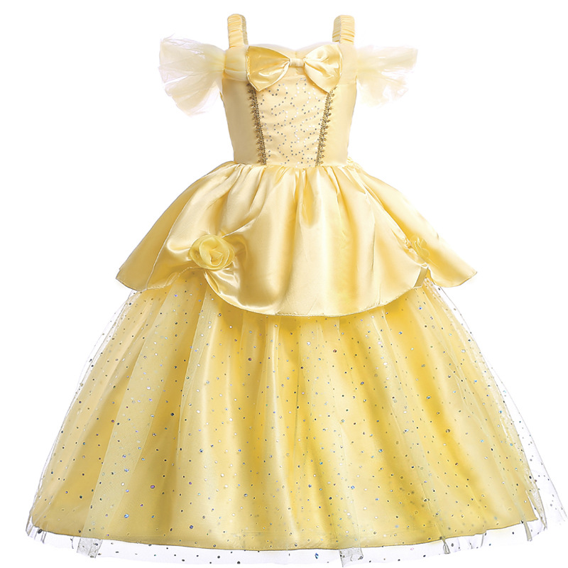 Beauty and The Beast Belle Dress Cosplay Carnival Festival Kids Girl Princess Dress for Christmas Halloween Vestido Cloth Yellow new 2016 kids girl beauty and beast cosplay carnival costume kids belle princess dress for christmas halloween fantasia infantil