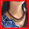 Pure Handmade Exotic Jewelry statement bell vintage choker necklace ,New  Ethnic Chinese wind national flavor red necklace