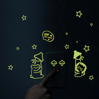 free shipping Creative removable 3d cartoon glowing wall switch stickers luminous art decals