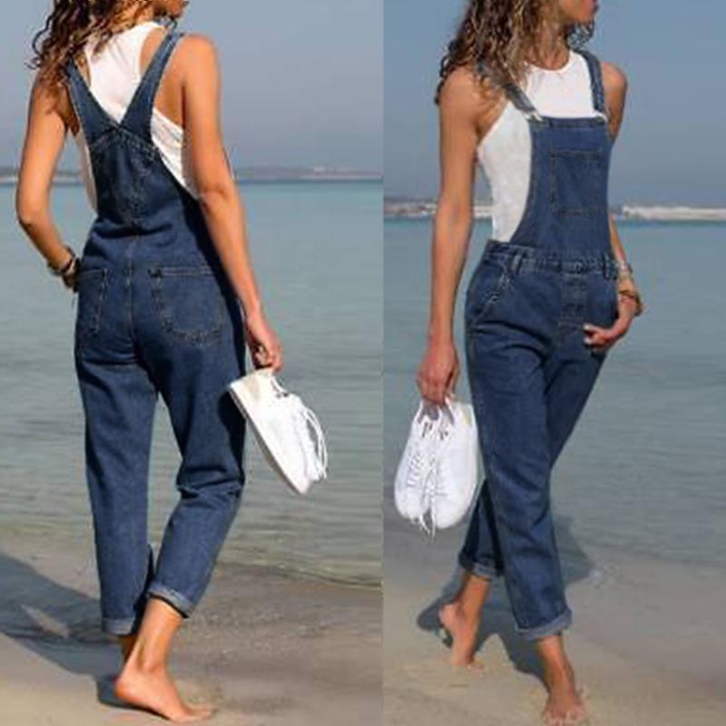 2019 New Fahsion Women's Pants Woman Casual   Jeans   Fashion Long Denim Trousers Female Elegant Slim Fits Jumpsuits Dungarees   Jeans