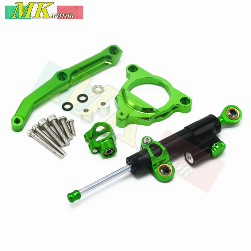 ФОТО CNC Aluminum Motorcycle adjustable Linear Reversed Steering Damper with bracket Suport For Kawasaki Z800/E version 2013-2016