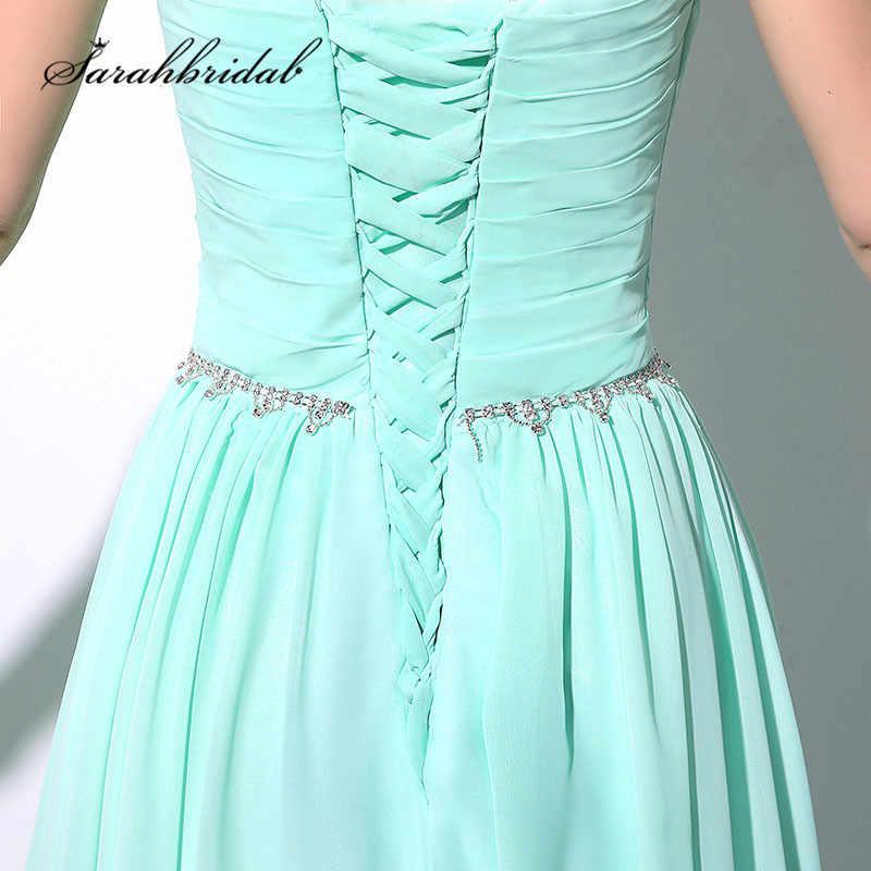 מנטה ארוך ערב שמלות זול במלאי קריסטלים חרוזים באורך רצפת שיפון תחרה עד בחזרה אבנט נשף מסיבת שמלות SD184