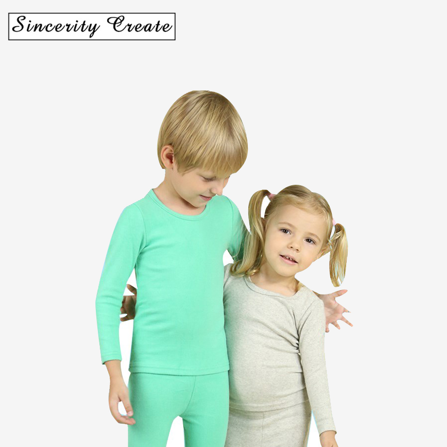 Solid Cotton Long Sleeve O-neck Kids Thermal Underwear Long Johns pure color home wear set spring/autumn Multicolored KU-1503 round neck long sleeve 3d coins print sweatshirt