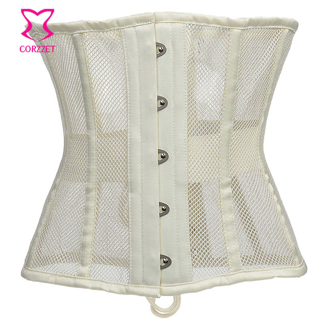 07b17bee2d Beige Fishnet Sexy Waist Trainer Underbust Corsets And Bustiers Plus Size  Steel Boned Corset Waist Cincher Body Shaper Slimming