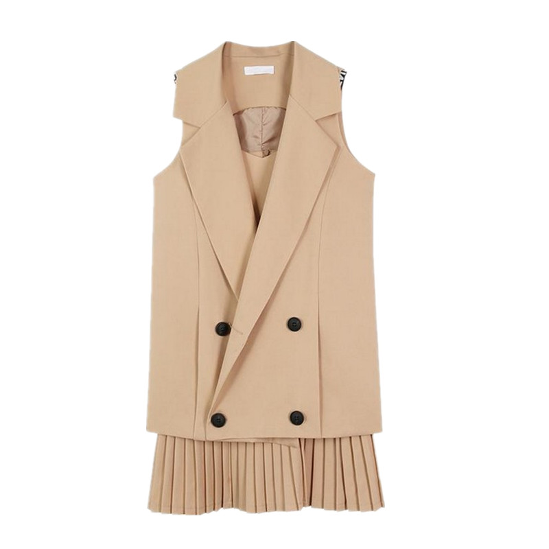 2 Pieces 2020 Spring Women's Vest Summer Sleeveless Shirt Coat Femmale Long Vests Modis Casaco Feminino Gilet Femme Waistcoat