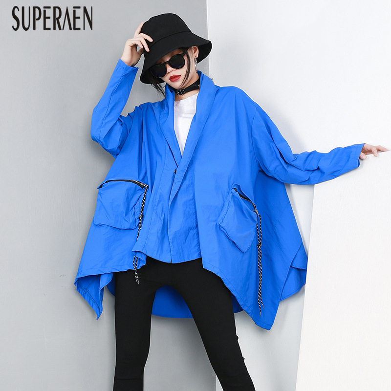 SuperAen 2019 Spring New Hooded Windbreaker Women Wild Casual Fashion Loose   Trench   Coat for Women Pluz Size Women Clothes