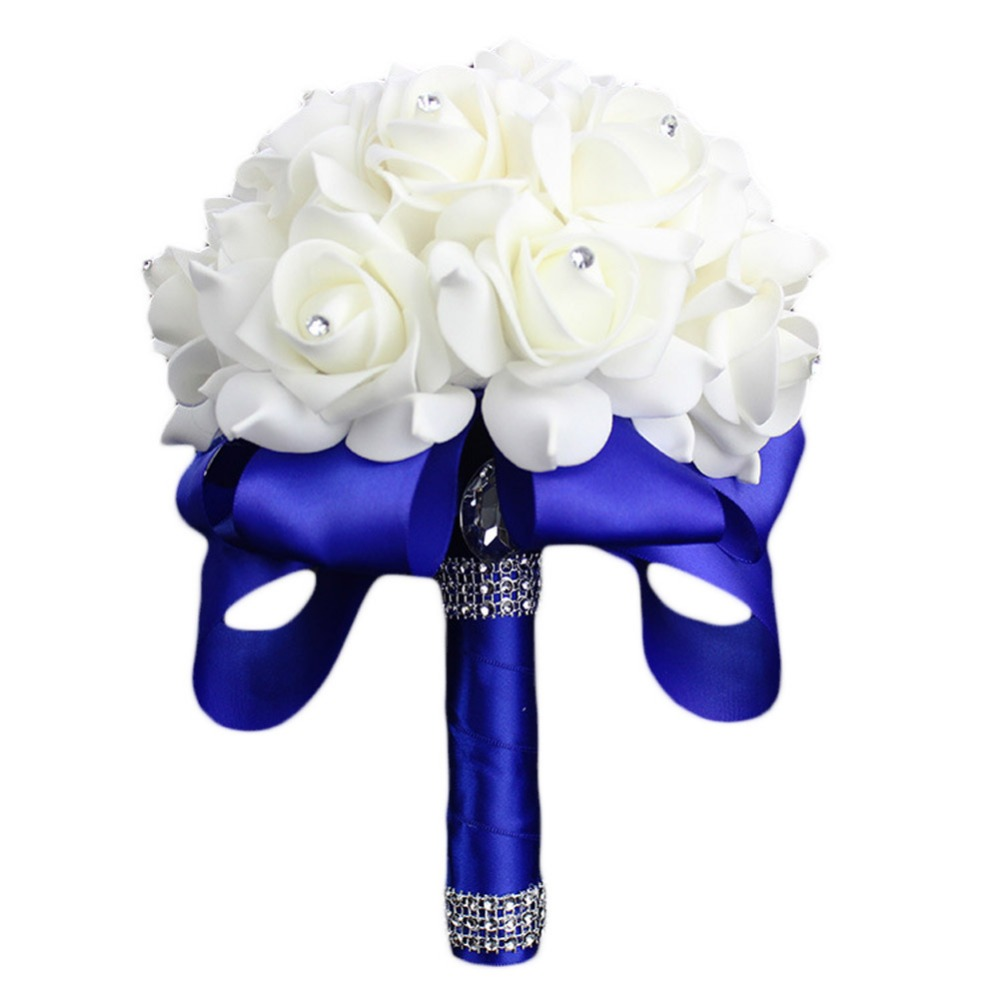 Elegant Colorful Bride Bridesmaid Rose Artificial Hands Holding Wedding Flowers Bridal Bouquets for Party Decoration