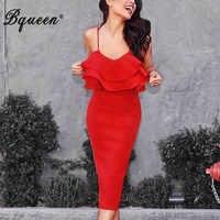 Bqueen Women Bandage Dress Sexy Spaghetti Strap Slash Neck Bodycon Elegant Ruffles Midi Lady Party Dress Vestidos 2019