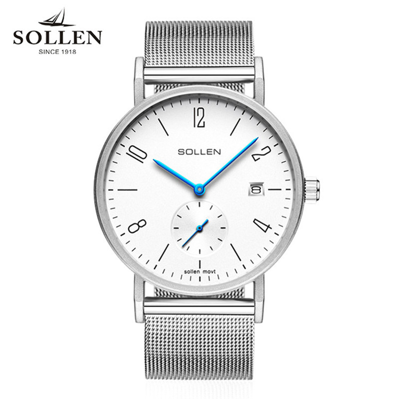 Brand SOLLEN Luxury Quartz Men Watch Stainless Steel Mesh Strap Small Hand Woks Ultra Thin Dial Sport Clock Relogio Masculino bgg brand creative two turntables dial women men watch stainless mesh boy girl casual quartz watch students watch relogio