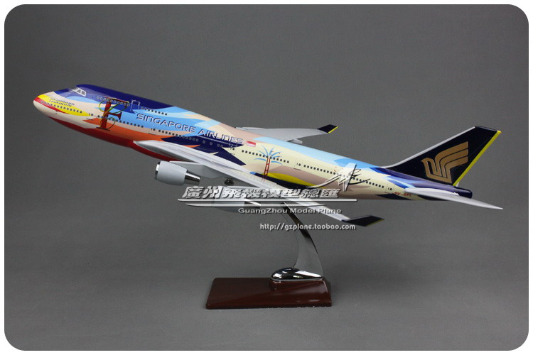 47cm Resin Singapore Airlines Airplane Model Boeing 747-400 Aircraft Model Painted Seven-colored Bird B747 Airways Airbus Model цена