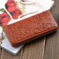 Womens Morning glory Embossed Real Genuine Leather Zipper Handbag Long Wallet Clutches Female Lady Coin Purse Card Holder bags