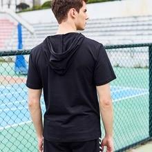 2018 Summer men tshirt hooded Casual Collar Tops Tees Short Sleeve T-Shirt Homme Slim Elastic Hood Design Male T shirt Cotton