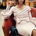 Симпатичные Новый Платья 2017 Весенняя Мода Дамы Лоскутная Лук Puff Рукавом Элегантный Люкс Розовый Дизайнер Империя Dress