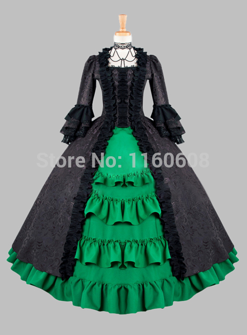 Gothic Black and Green Cotton Brocade Victorian 1870/90s Era Dress