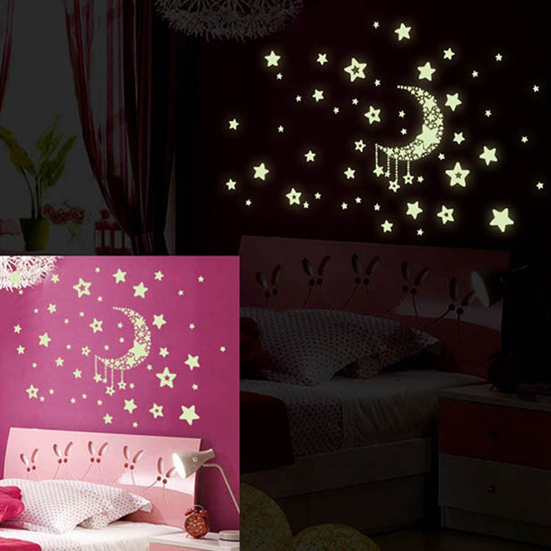 Fluorescent Stickers Universe Planet Star Glow Dark Luminous Celling Wall Art Home Paste Ceiling Decoration Pvc Decal 21*29.7cm