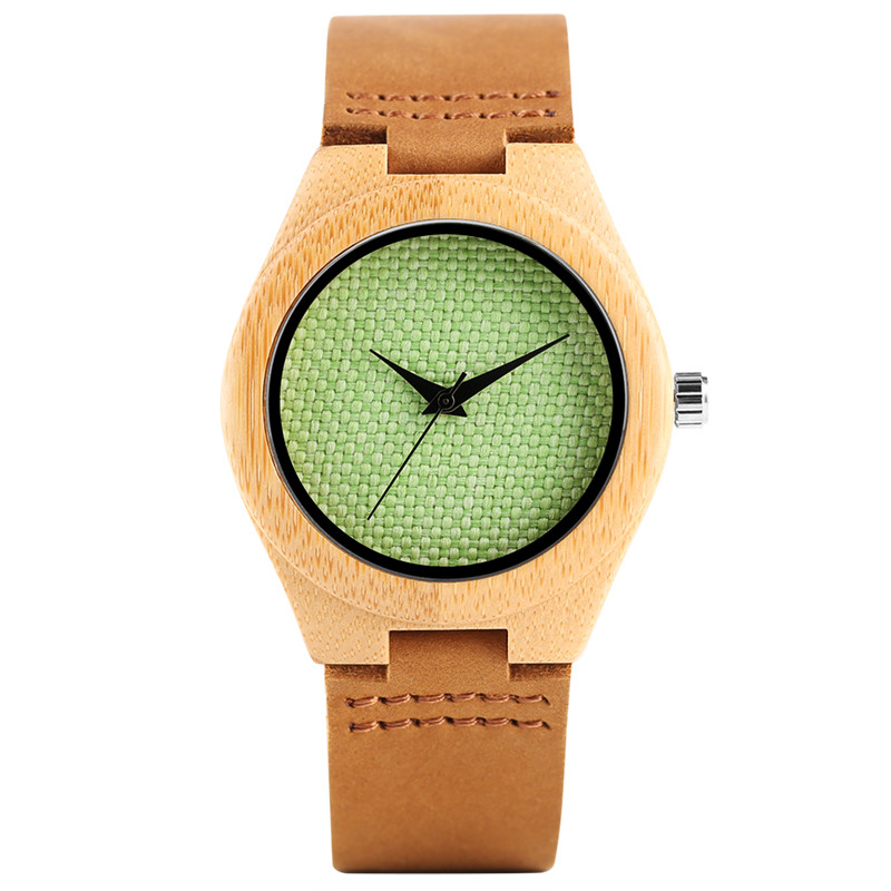 Nature Wood Green White Mesh Dial Wrist Watch Women Ladies Handmade From Bamboo Genuine Leather Band Strap Wooden Quartz Watches yisuya simple ladies dress bamboo wooden wrist watch women casual relax handmade nature wood quartz watch genuine leather clock
