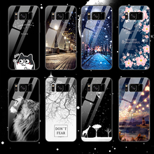 Tempered Glass Phone Case For Samaung Galaxy S9 S8 Plus Note 8 Pattern Cover For Samaung S9 S8 Plus Note 8 TPU Soft Edge Cases