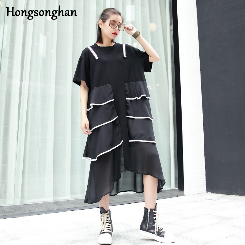 Hongsonghan 2018 Summer new mosaic chiffon dresses female short sleeve loose long white wrapping side irregular cake style dress