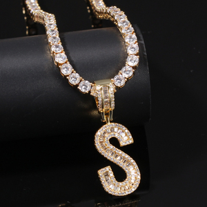 Image 2 - THE BLING KING English Initials Baguette Letters Necklace Pendant Wirh 4mm Cubic Zirconia Tennis Chains Fashion Hiphop Jewelry
