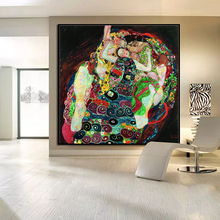 Original wall picture print canvas painting gustav klimt Death Life wall painting for home decor art for living room