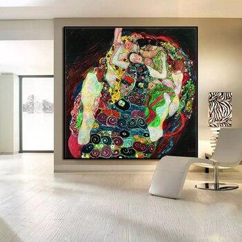 Originale immagine della parete di stampa su tela pittura gustav klimt  Death della parete di Vita pi