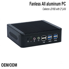 Цена завода insustrial pc J3160 HDMI + VGA 2 порта ethernet промышленный безвентиляторный пк прочный мини-пк 2 LAN linux/pfsense firewal