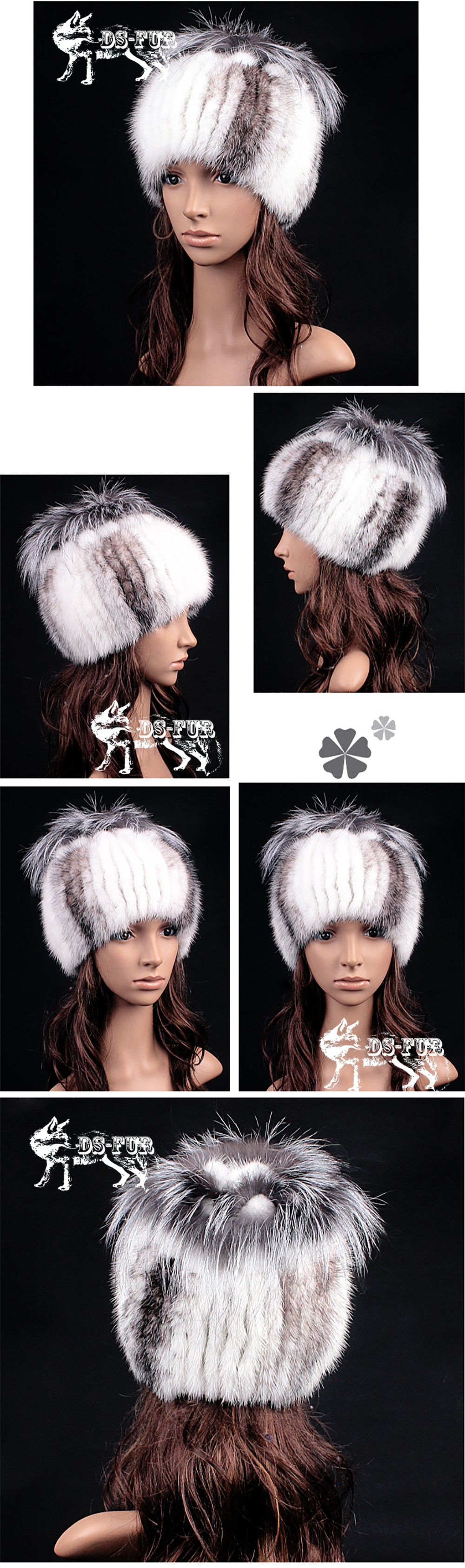 Genuine Mink fur knitting hat silver fox hair bulb01