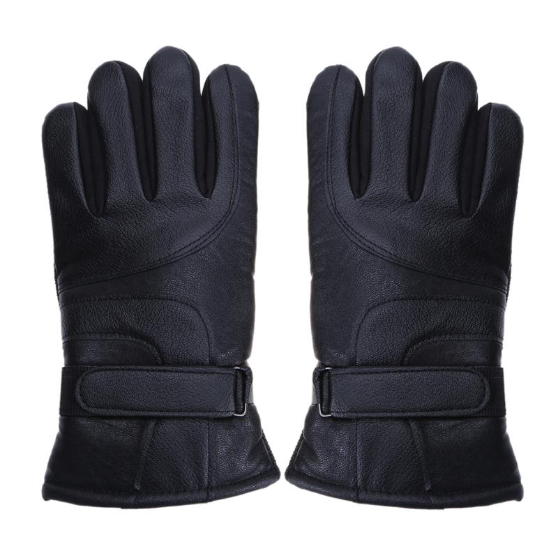 Anti Slip Leather Gloves Touch Screen Cold Skid Riding Thicken Fleece Warm Cotton Winter Long Gloves Male Leather Gloves
