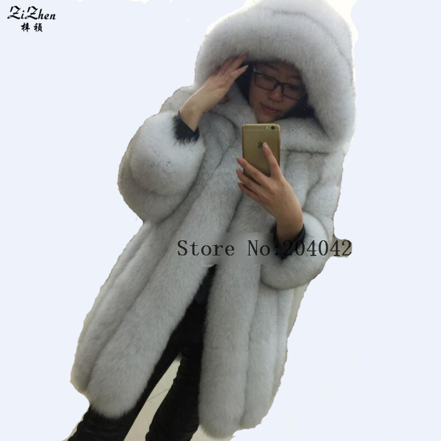 New Fashion Luxury Full Pelt Winter Warm Long Genuine Fox Fur Coat For Women Real Fox Fur Jacket With Hood Female 180628-2
