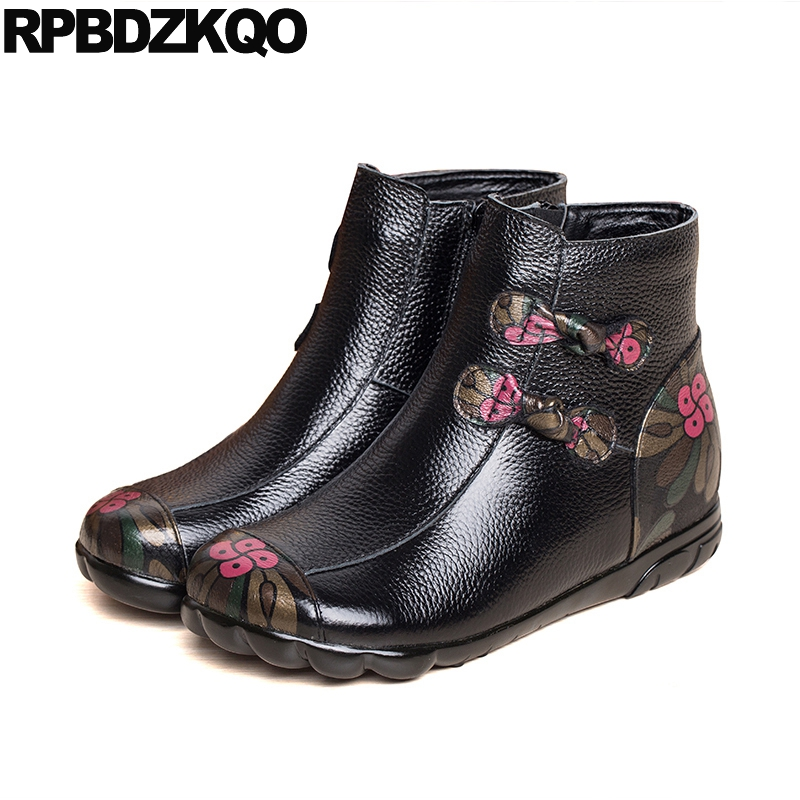 Wedge Floral Print Shoes Flat Fur Black Booties Women Boots Winter 2017 Fall Vintage Flower Printed Genuine Leather Retro flower print flat sliders