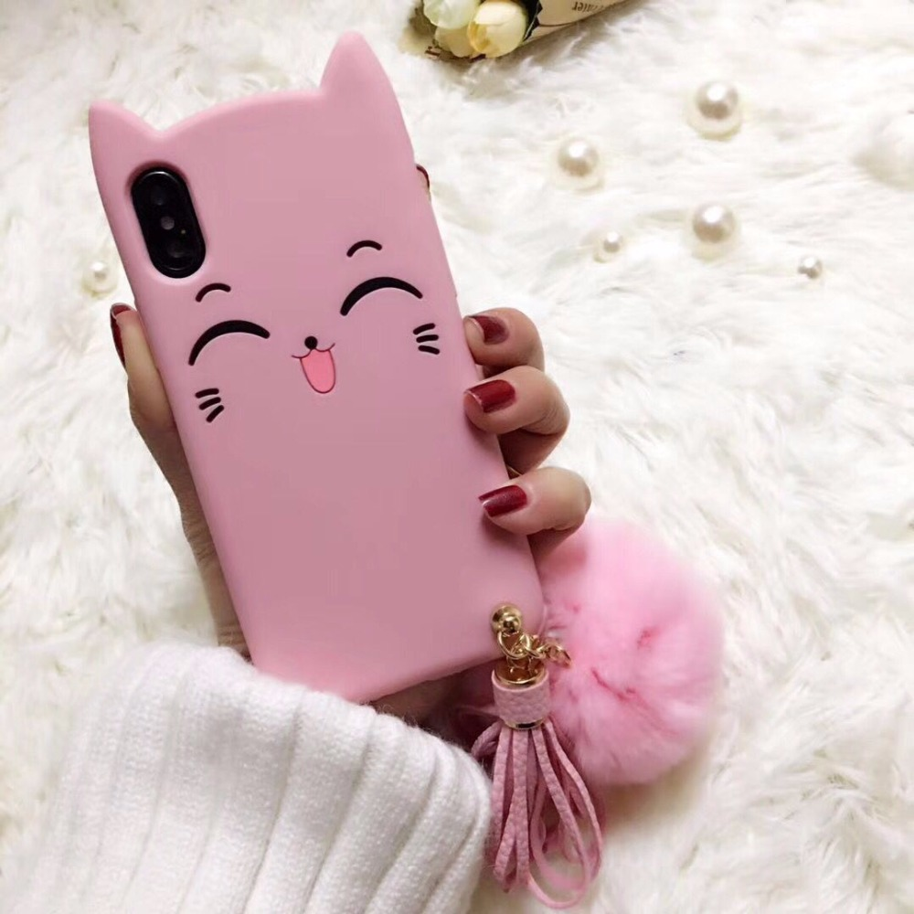 For iphone 5s se 6 6s 7 8 plus X samsung s8 s9 plus Case cover 3D Smile pink Cat Ears Beard Soft Silicon phone bag with fur ball