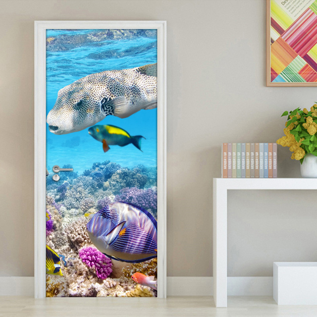 Underwater World Coral Fish Modern Living Room Bedroom Bathroom Door