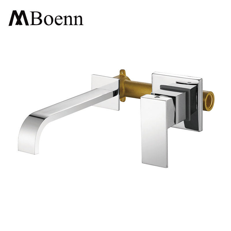 Bathroom Basin Mixer Chrome Brass Wall Mounted Basin Faucet Single Handle Mixer Tap Hot And Cold Water Faucets china sanitary ware chrome wall mount thermostatic water tap water saver thermostatic shower faucet
