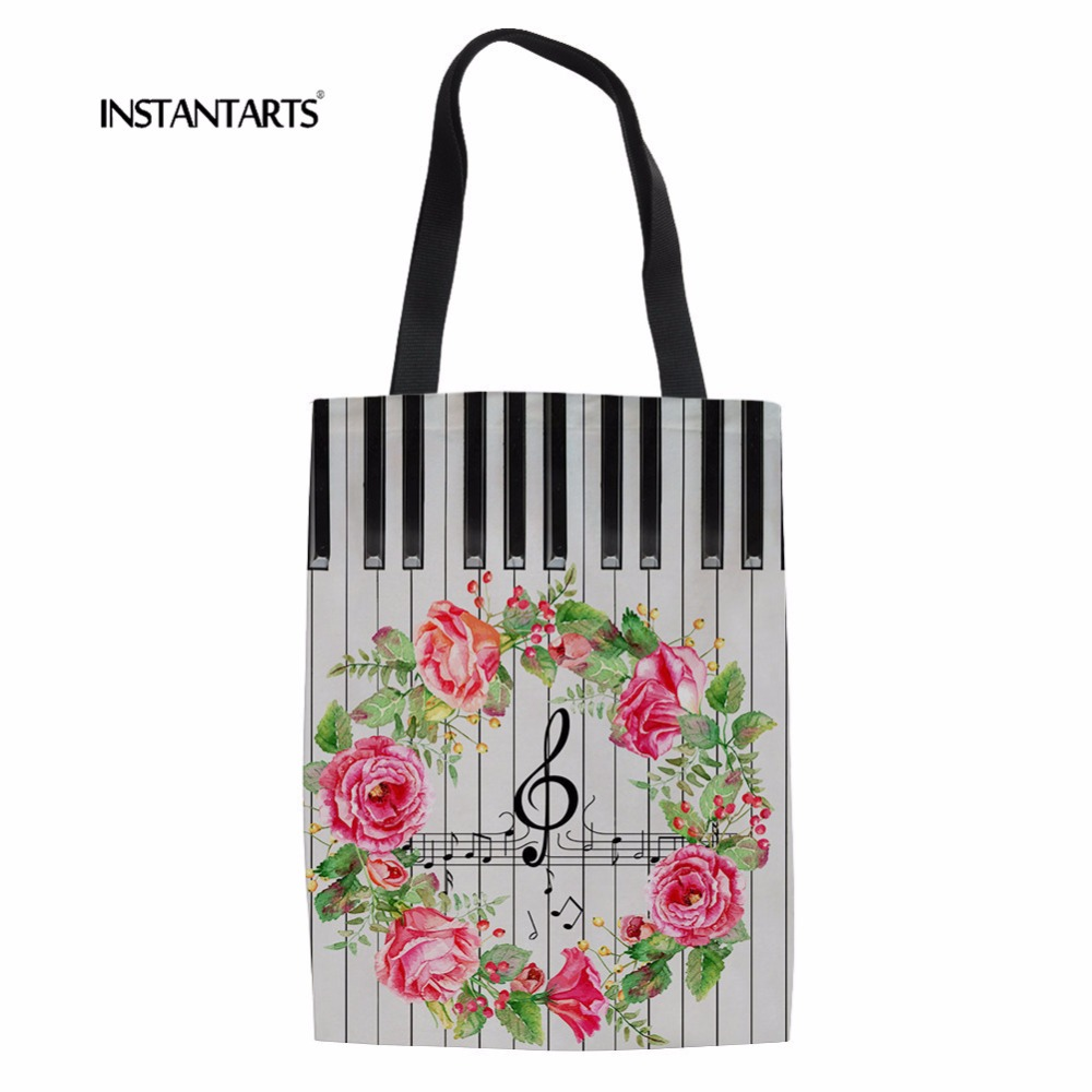 INSTANTARTS Casual Canvas Bags Music Notes with Piano Keyboard Pattern Women Large Shopping Bags Grocery Linen Handbag Bookbag