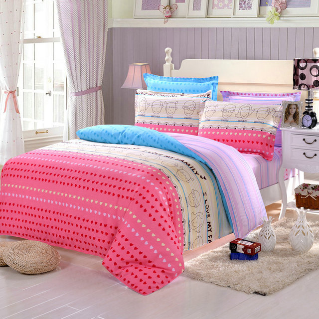 striped bedding love heart pattern bedding girls comforter sets softest sheets full size comforter sets pink