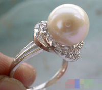 00456 white ROUND PEARL mount RING