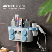 Family Tooth Brush Holder Set Easy Install Plastic Bathroom Toothbrush Storage Rack Toothpaste Dispenser with 4 Cup